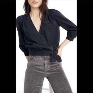 NWT $78 Madewell Denim Wrap Top Blouse Black SZ XS